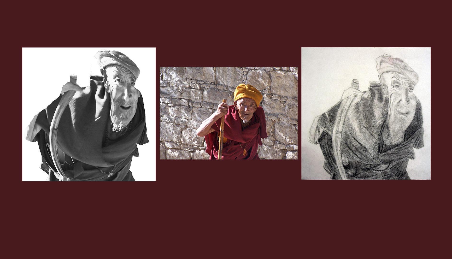 Moine Tibétain - Dessin au crayon d'après photographie Yves MARTIN-GARIN
