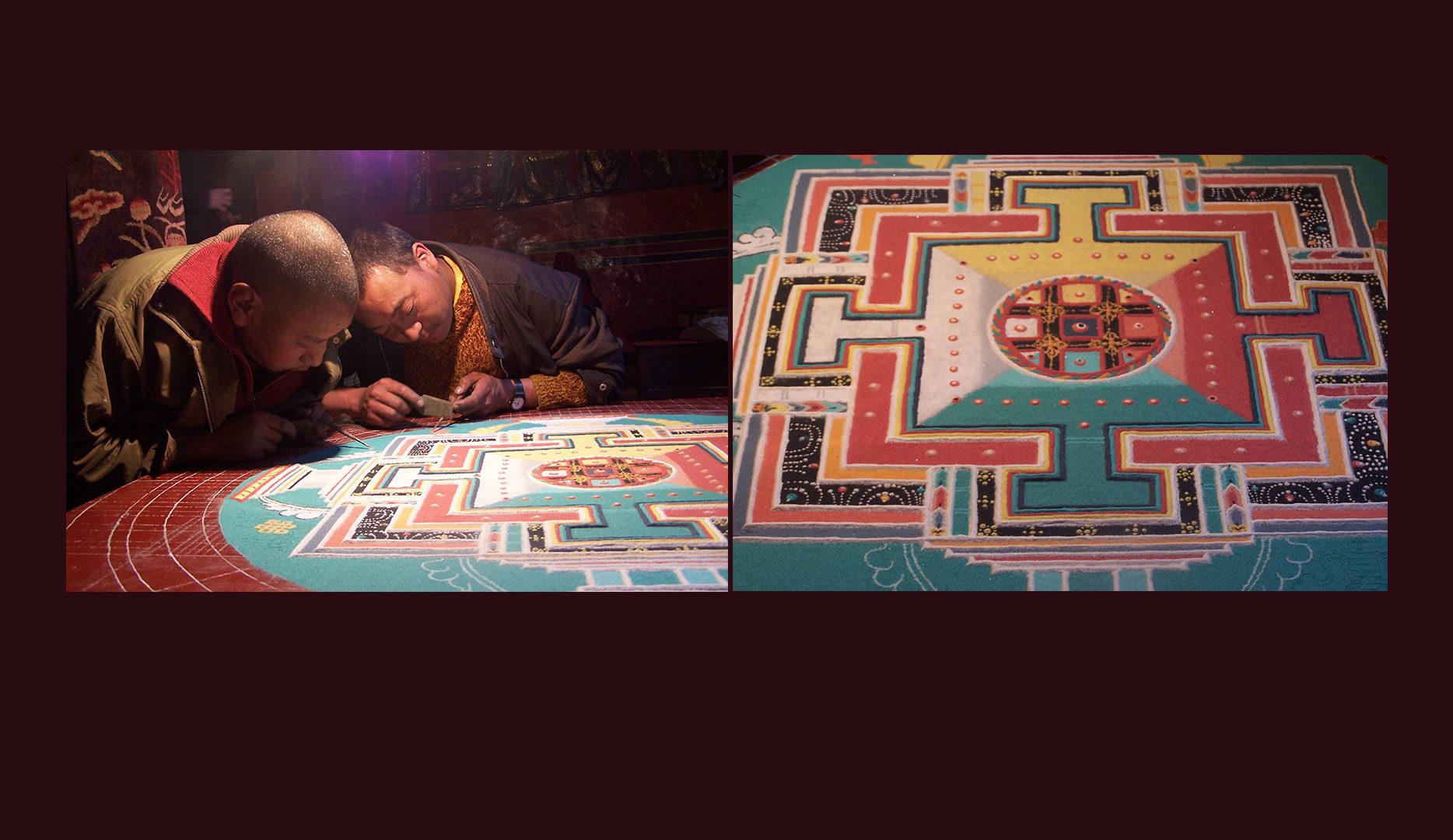 Construction du Mandala au Monastère de Ramding au Tibet