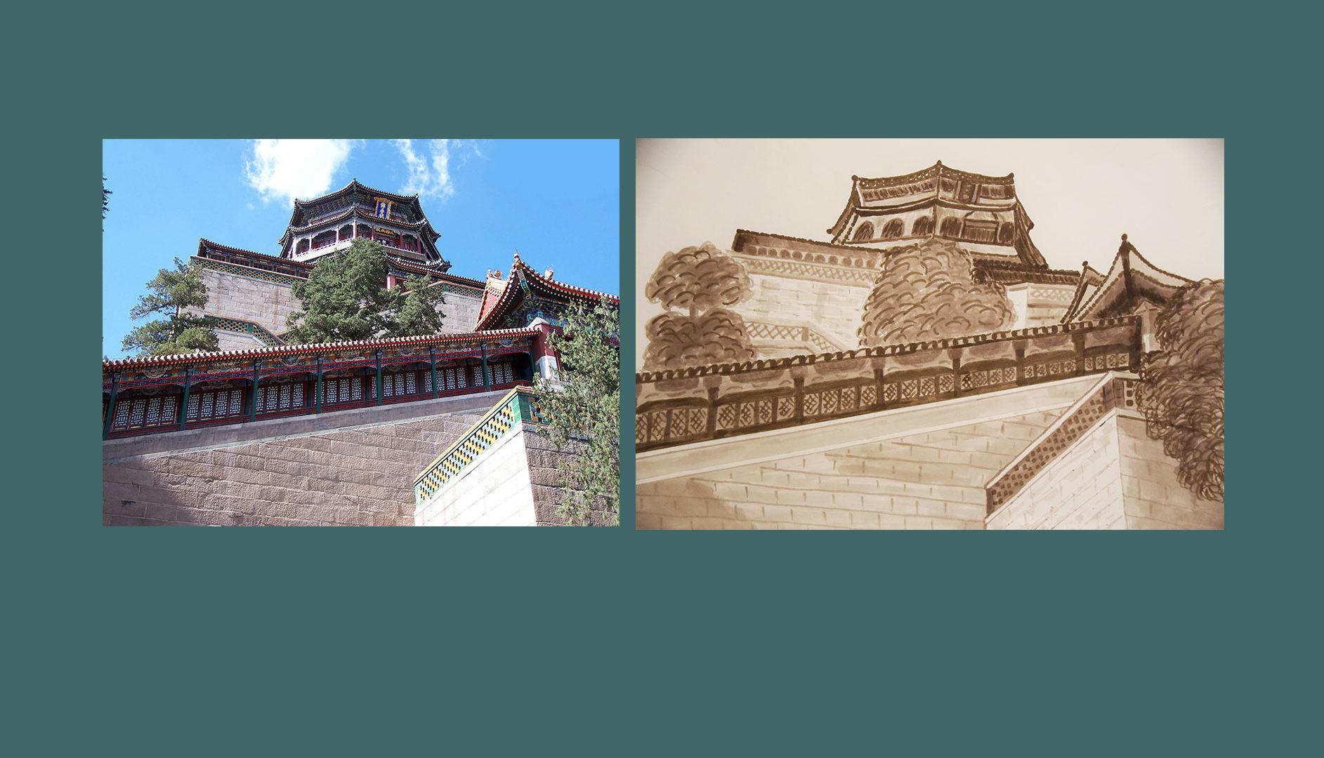 Palais d'été de Pékin - Dessin au feutre alcool d'après photographie Yves MARTIN-GARIN