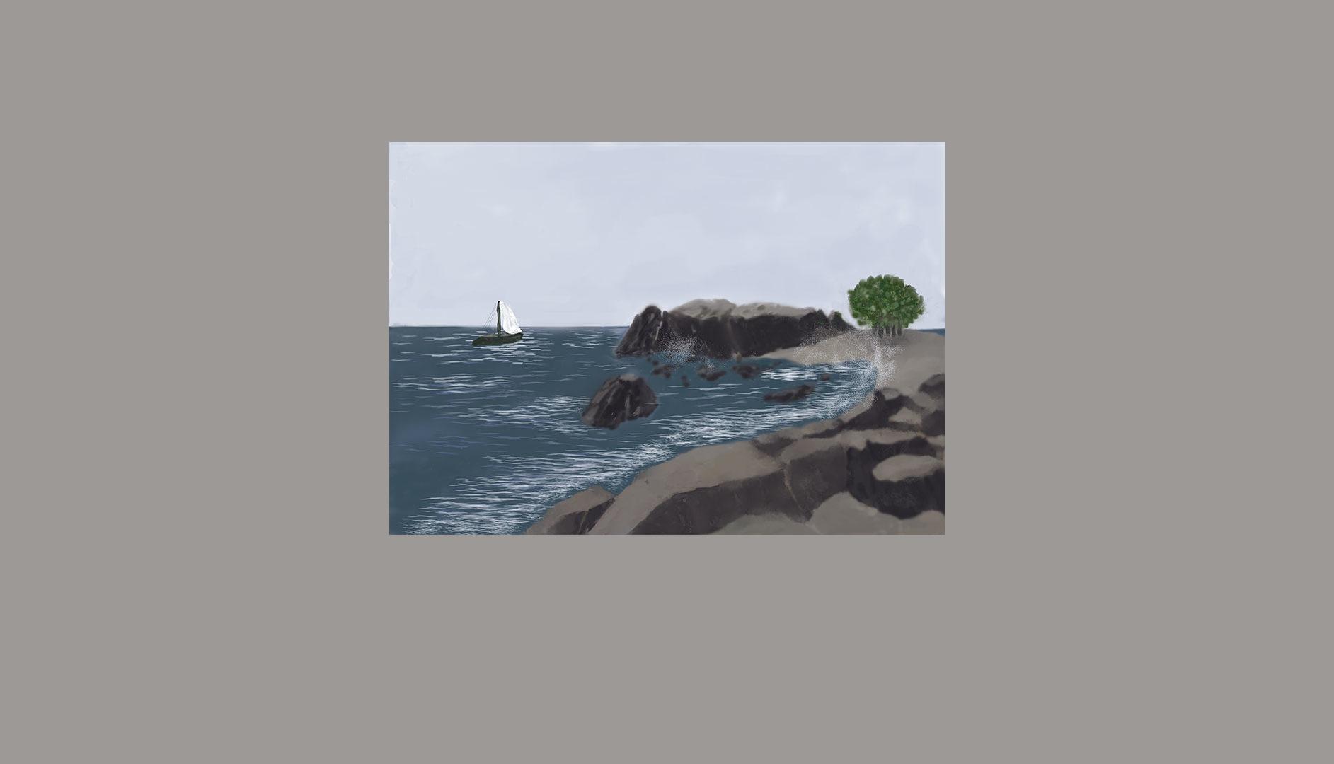 Paysage de Crète - Digital Painting sur Photoshop