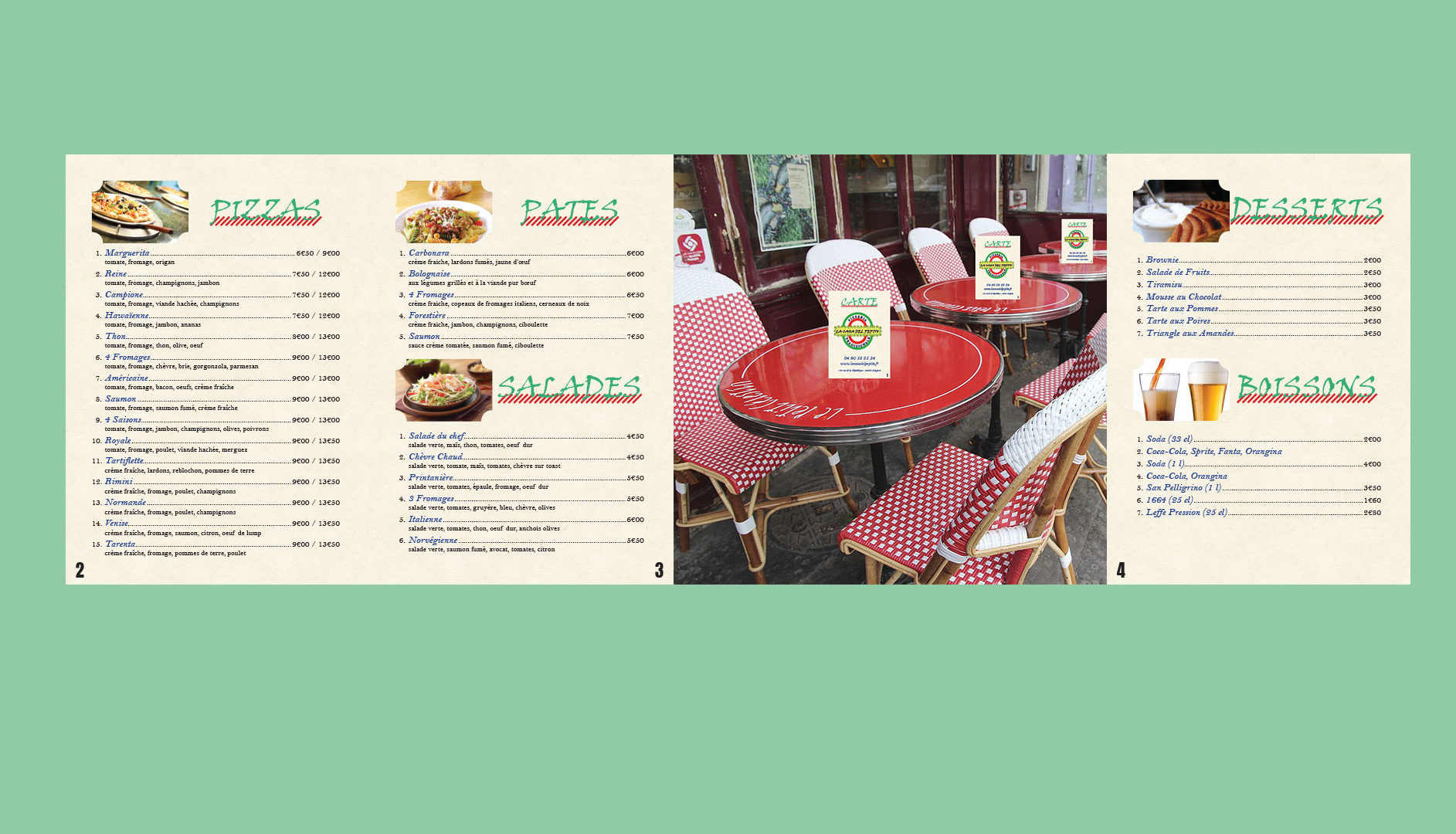 Menu Pizzéria - Mise en page Indesign