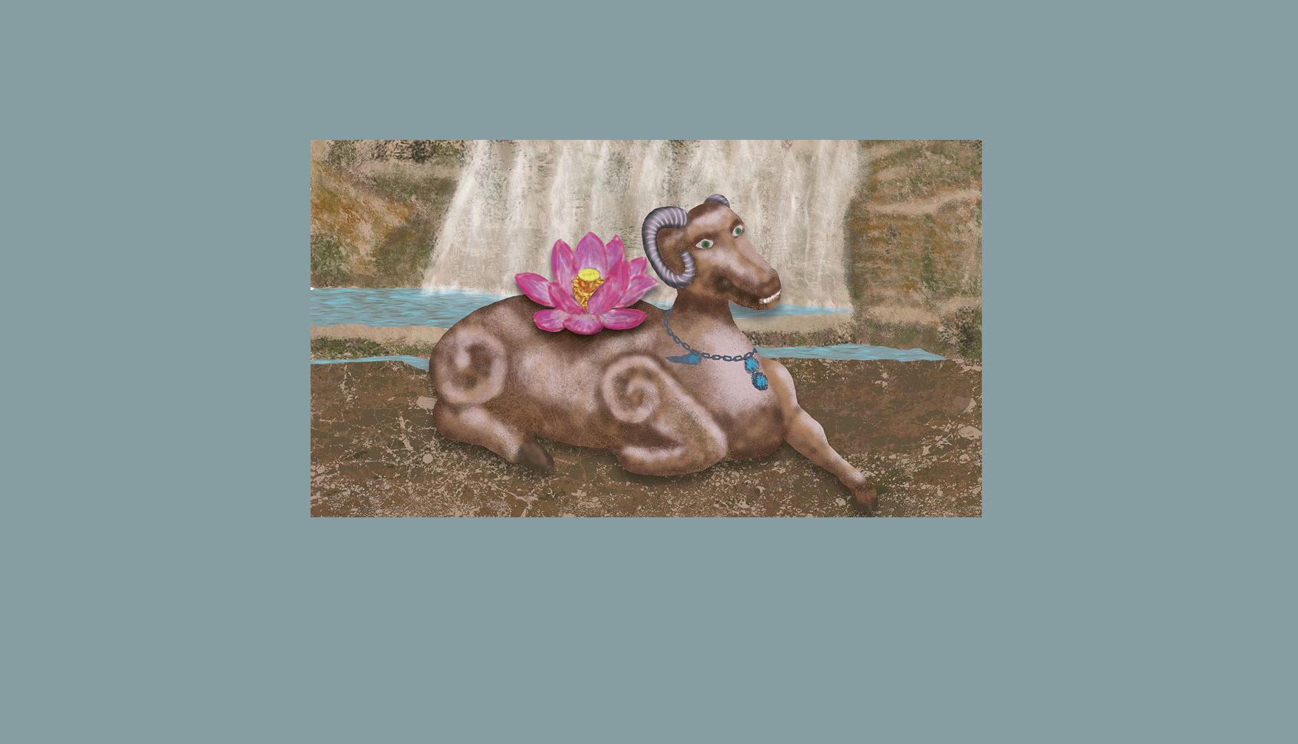 Animal mystique devant une cascade