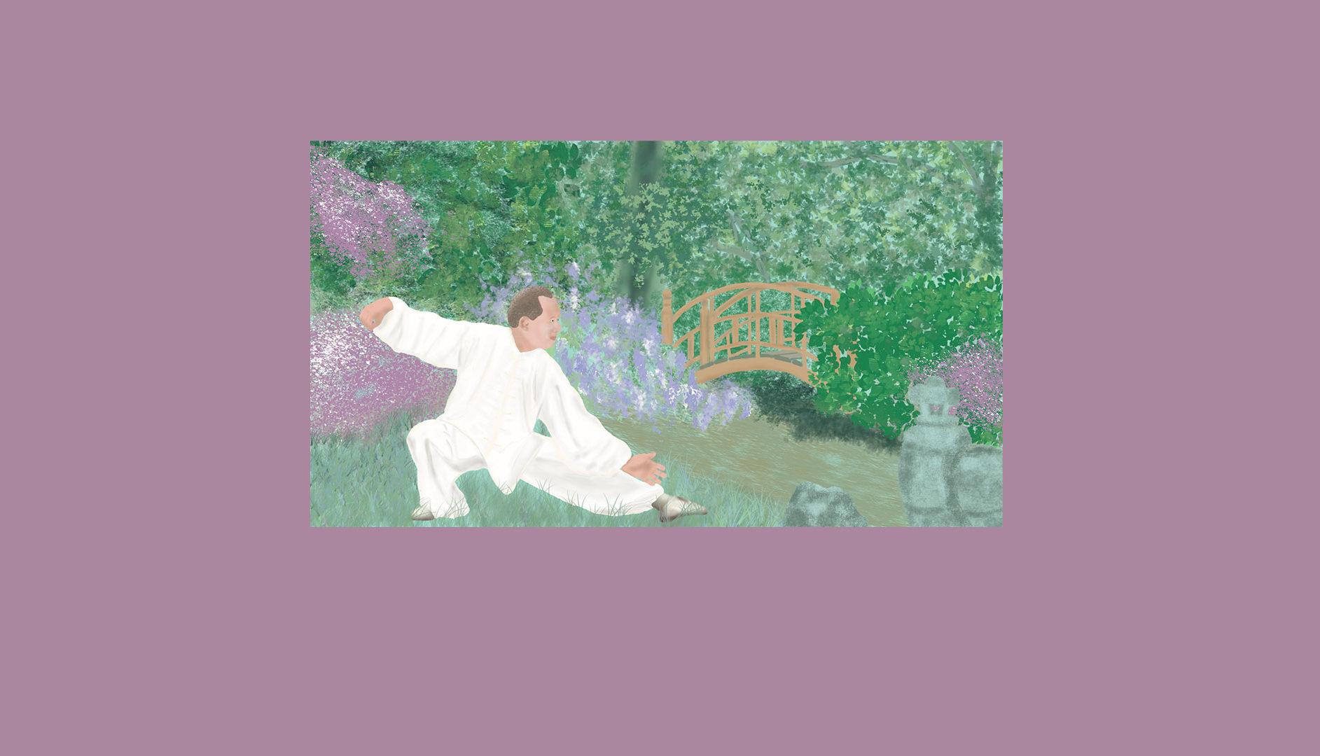 Pratiquant de Qi Gong dans un jardin Zen