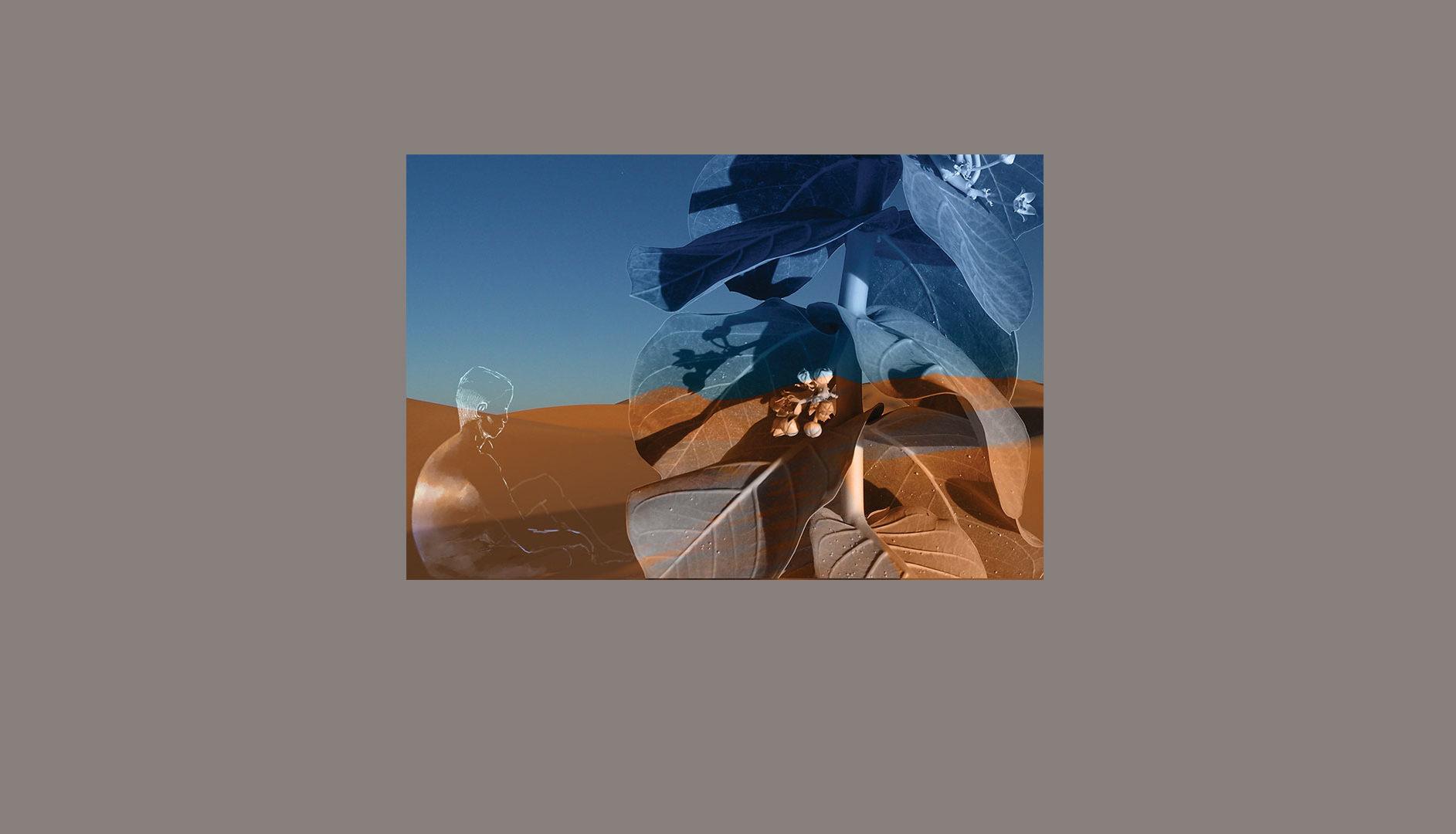 Personnage méditant dans le désert de Lybie